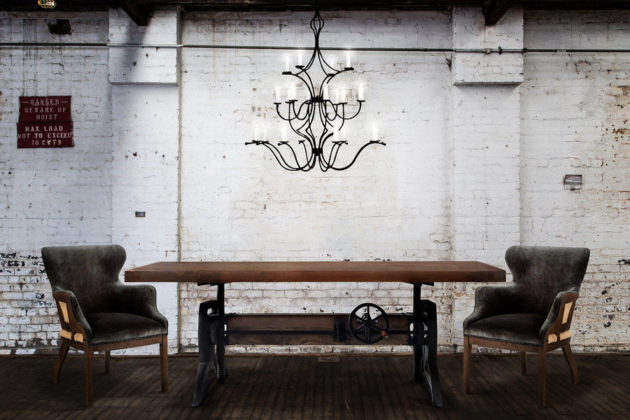 "Large 18 Light Hand Forged Iron Chandelier - 42"" Diameter 56"" High Lighting Ashore"