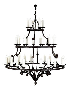 "Large 3 Tier 36 Light Hand Forged Chandelier - 54"" Diameter 60"" High - Rustic Deco Incorporated"