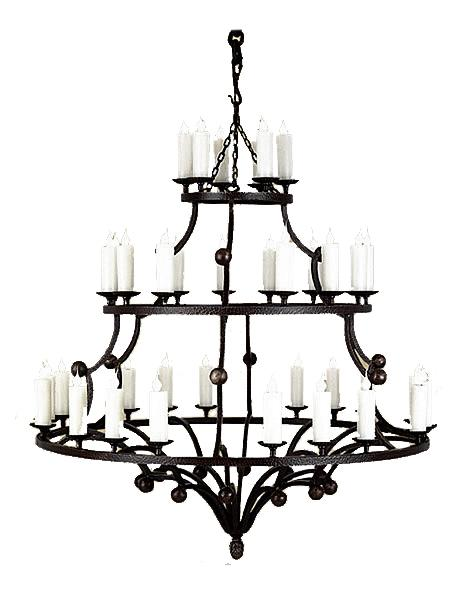 "Large 3 Tier 36 Light Hand Forged Chandelier - 54"" Diameter 60"" High Lighting Ashore"