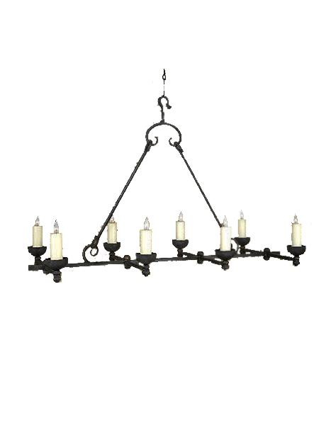 "Large 8 Light Rustic Hand Forged Chandelier 54"" Long - Venti-Rustic Deco Incorporated"