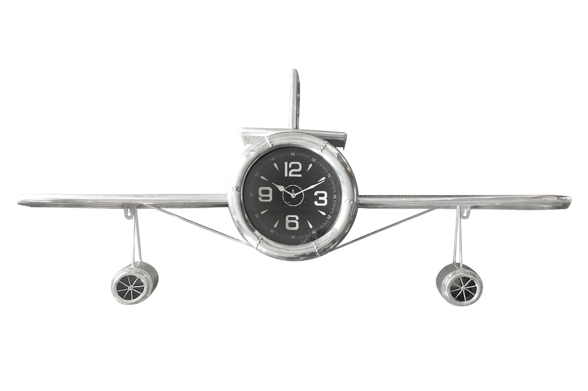 "Large Airplane Wall Clock - Polished Aviation Aluminum - 55"" Wingspan Clock Rustic Deco"