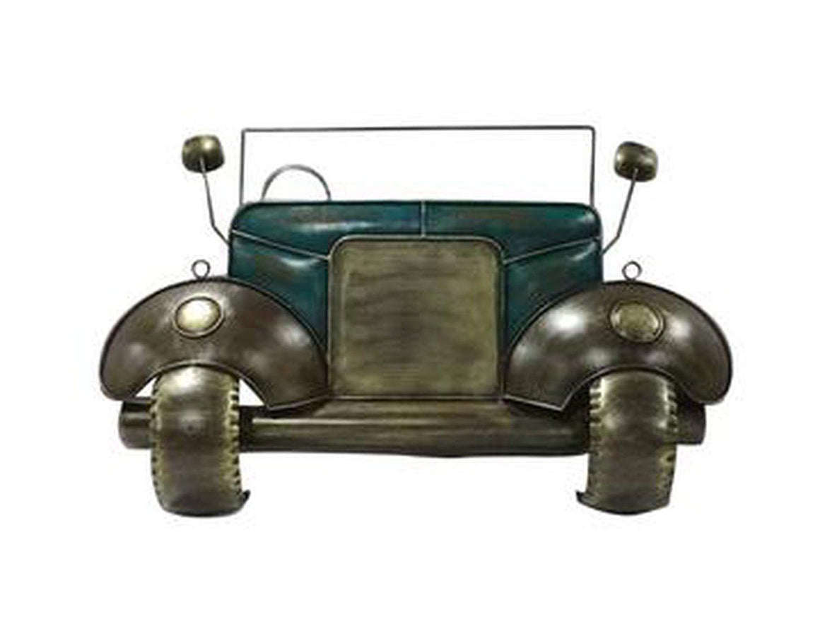 "Large Antique Automobile Rustic Industrial 3D Metal Wall Art - 46"" x 28"" - Rustic Deco Incorporated"