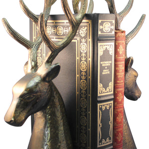 Large Deer Head Bookends - Premium Bronze Tone Solid Metal - Pair-Rustic Deco Incorporated