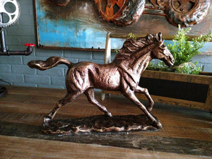 Large Galloping Horse Figurine - Metal Stallion Statue - Bronze Finish - Rustic Deco Incorporated