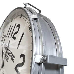 "Large Industrial Metal Wall Clock - Grand Central Station, NY - 26"" Silver-Rustic Deco Incorporated"