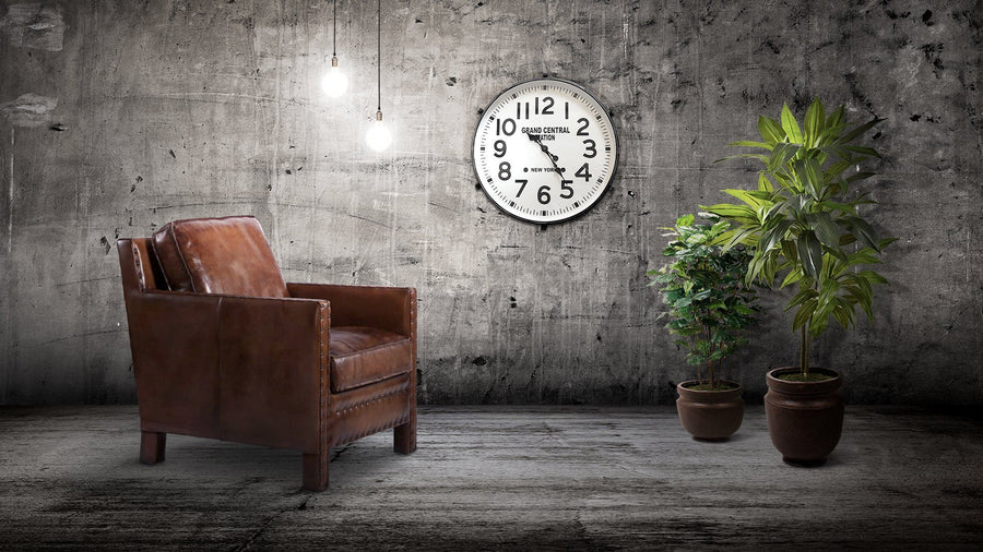 "Large Industrial Metal Wall Clock - Grand Central Station, NY - 26"" Black-Rustic Deco Incorporated"