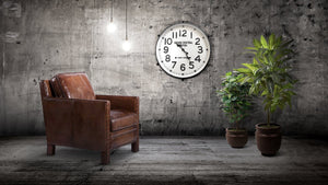 "Large Industrial Metal Wall Clock - Grand Central Station, NY - 30"" Black Clock Rustic Deco"