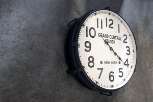 "Large Industrial Metal Wall Clock - Grand Central Station, NY - 30"" Black-Rustic Deco Incorporated"