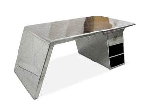 "Large Aviator Wing Executive Desk - Polished Aluminum 78"" - Rustic Deco Incorporated"