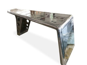 "Large Aviator Executive Desk - Polished Aluminum Aircraft Wing - 86""-Rustic Deco Incorporated"