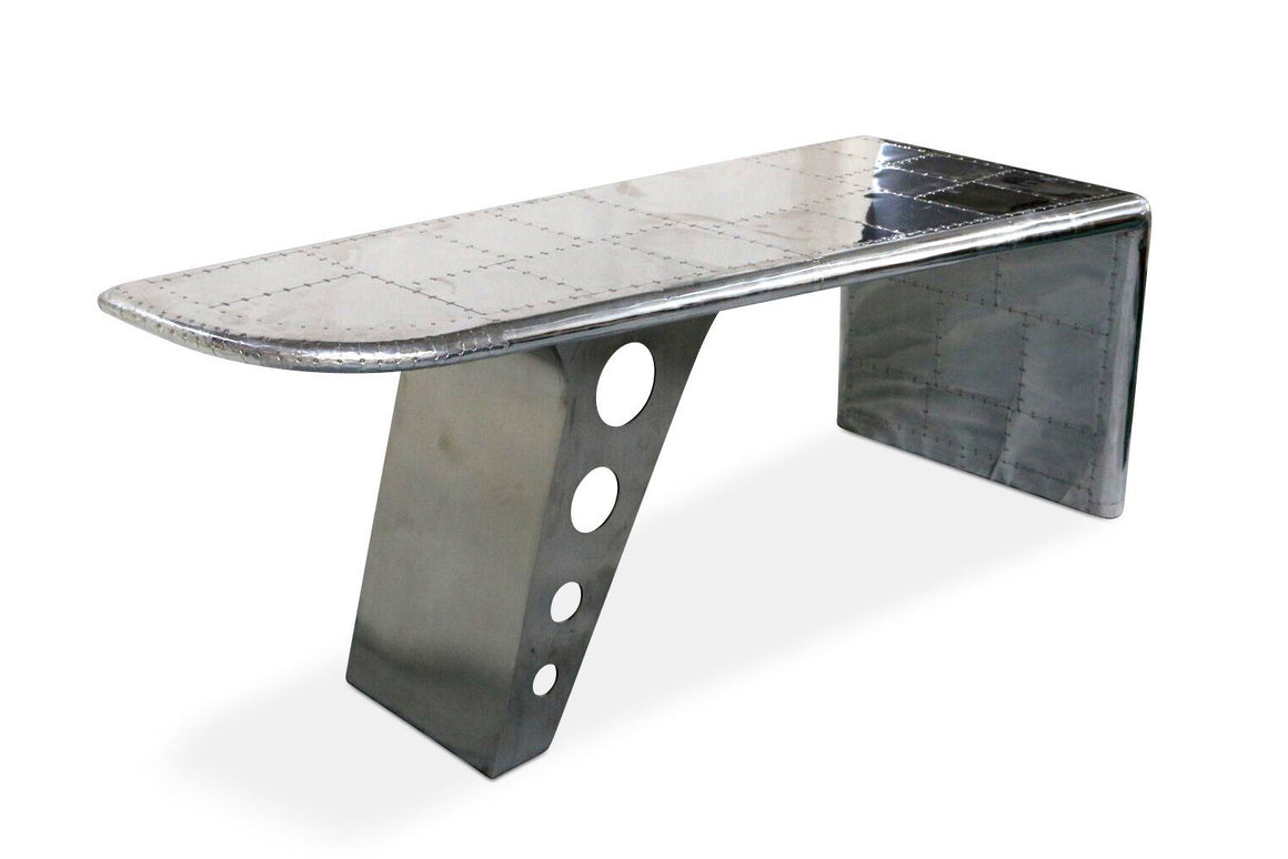 "Large Aviator Executive Desk - Polished Aluminum Aircraft Wing - 86"" - Rustic Deco Incorporated"