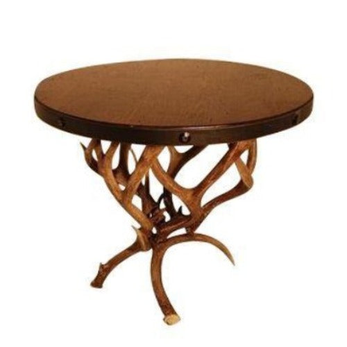 "Large Round Top Mule Deer Antler End Table 30""-Rustic Deco Incorporated"