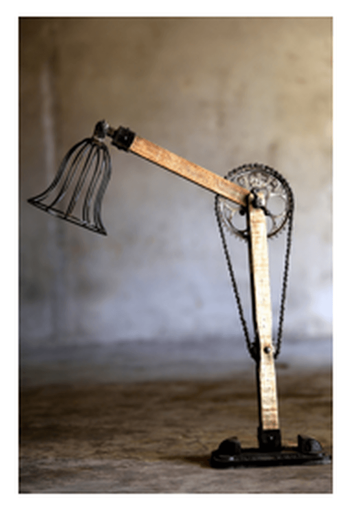 Large Rustic Industrial Cast Iron And Wood Cycle Lamp