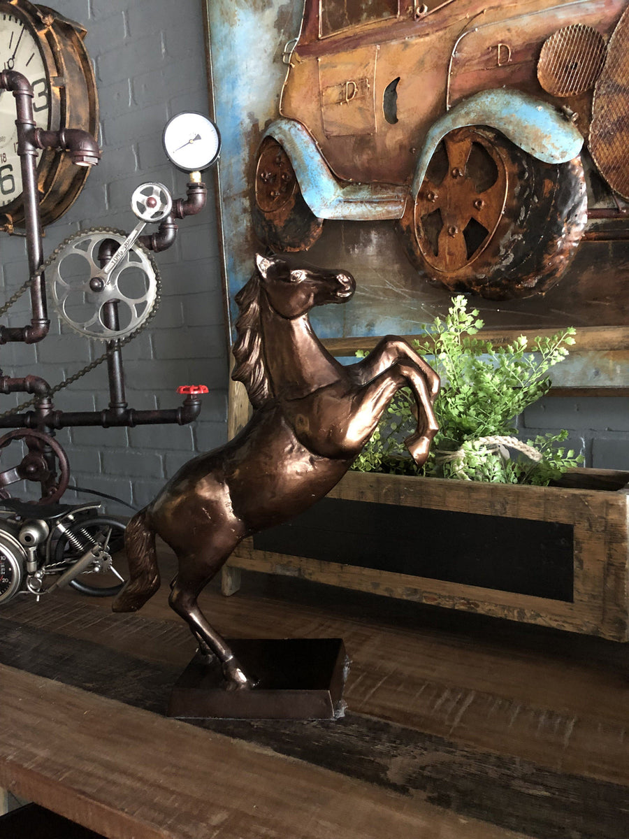 Rearing Horse Statue - Large Metal Stallion Figurine - Bronze Finish - Rustic Deco Incorporated