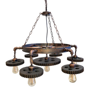 Industrial Iron Pipe Gear Wheel Light Chandelier - 7 Steampunk Cogs - Rustic Deco Incorporated