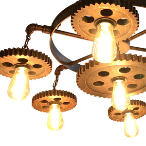 "Large Steampunk Industrial Iron Gear 7-Light Chandelier - 24"" - Rustic Deco Incorporated"