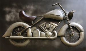 "Large Vintage Motorcycle 3D Metal Wall Art - 60"" Wall Art Rustic Deco"