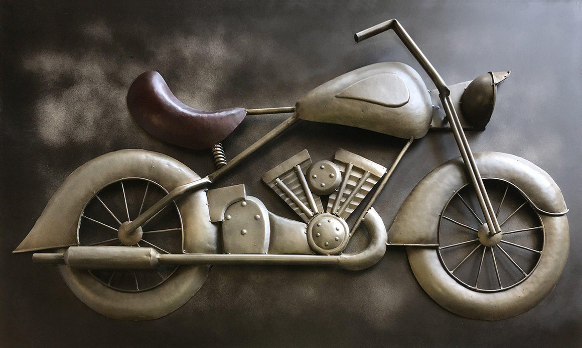 "Large Vintage Motorcycle 3D Metal Wall Art - Rustic 60"" x 36"" - Rustic Deco Incorporated"