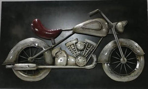 "Large Vintage Motorcycle Rustic 3D Metal Wall Art - 60"" x 36"" - Rustic Deco Incorporated"