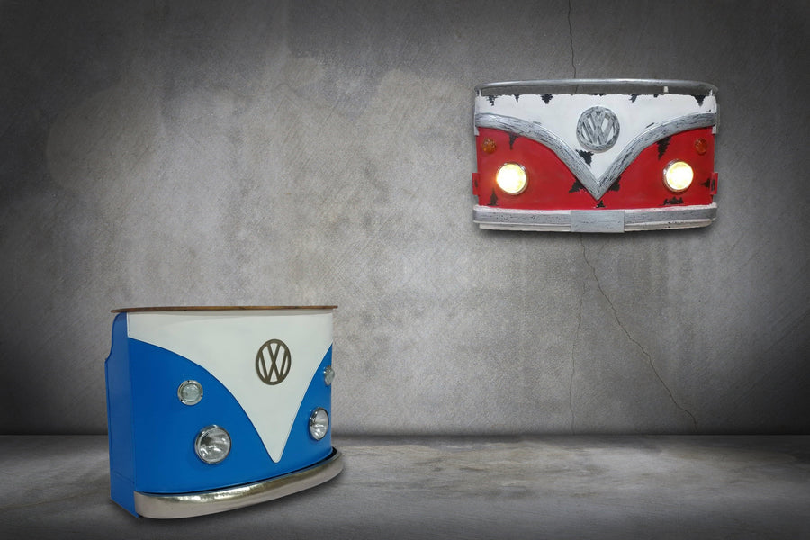 "Large VW Volkswagon Van 3D Wall Light Wall Art 62"" Red White Wall Art Rustic Deco"