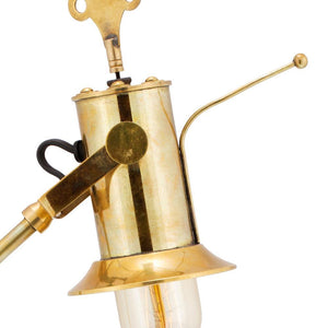 "Leonardo Table Lamp Model 1 - Brass - 17th Century Clock Bell - 24"" High - Rustic Deco Incorporated"