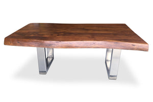 Live Edge Organic Industrial Coffee Table - Solid Hardwood - Nickel-Rustic Deco Incorporated