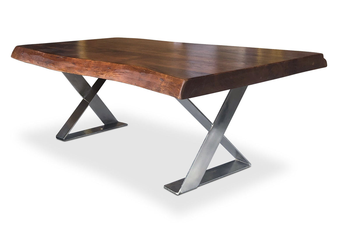 Live Edge Organic Industrial Coffee Table X Frame - Hardwood - Nickel-Rustic Deco Incorporated
