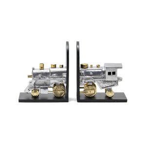 Locomotive Bookends Brass Iron Aluminum - Rustic Deco Incorporated