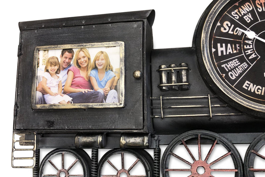 Large Locomotive Wall Clock Picture Frame - Metal Steam Engine Train - Rustic Deco Incorporated