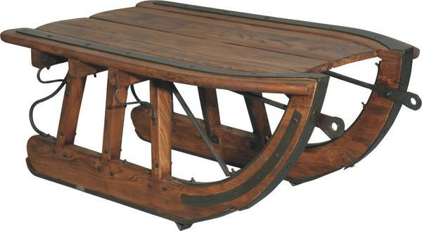 Handcrafted Logging Sled Coffee Table - Rustic Solid Wood - Iron Trim - Rustic Deco Incorporated