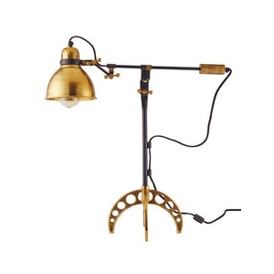 Machine Age - Brass Desk Lamp - 1910 British Industrial - Rustic Deco Incorporated