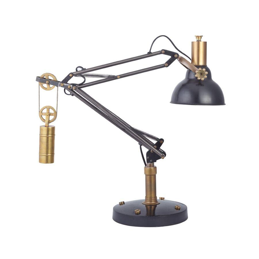 Manchester Industrial Table Desk Lamp - Brass Fixtures Adjustable Retro Design - Rustic Deco Incorporated