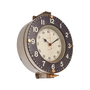 "Marine Wall Clock - Vintage Industrial - 1940's Naval Clock - 14.5"" - Nautical - Rustic Deco Incorporated"