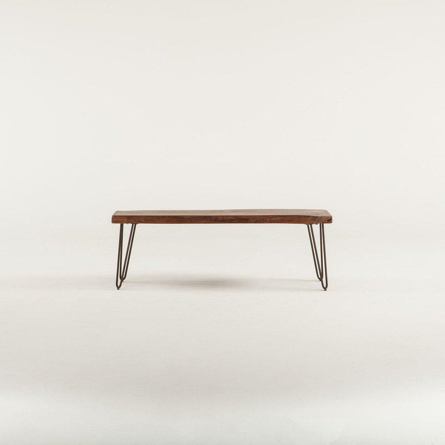 "Mid Century Modern Bench 54"" - Walnut Stain Solid Hardwood Live Edge Hairpin Legs Bench HT&D"