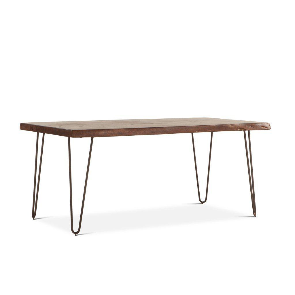 "Mid-Century Modern Dining Table - Live Edge Slab Hairpin Legs - 68"" - Rustic Deco Incorporated"