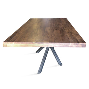 Mid-century Modern Industrial Dining Table - Crossed Leg - Pyramidal Truss-Rustic Deco Incorporated