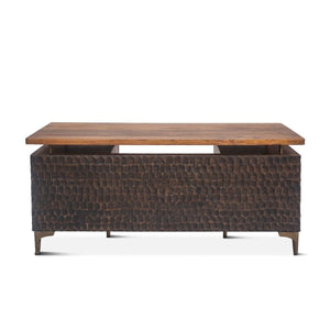 Mid-Century Modern Executive Office Desk - Textured Styling - 66 in - Rustic Deco Incorporated