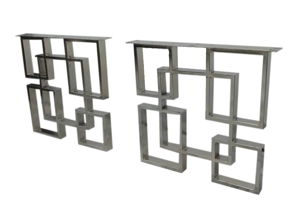 Geometric Square Art Deco Table Legs - Nickel Metal Steel - Set of 2 - Rustic Deco Incorporated