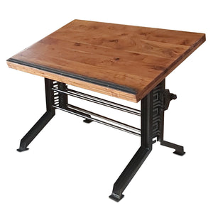 Industrial Drafting Desk Table – Art Deco Iron Crank Base – Tilt Top - Rustic Deco Incorporated