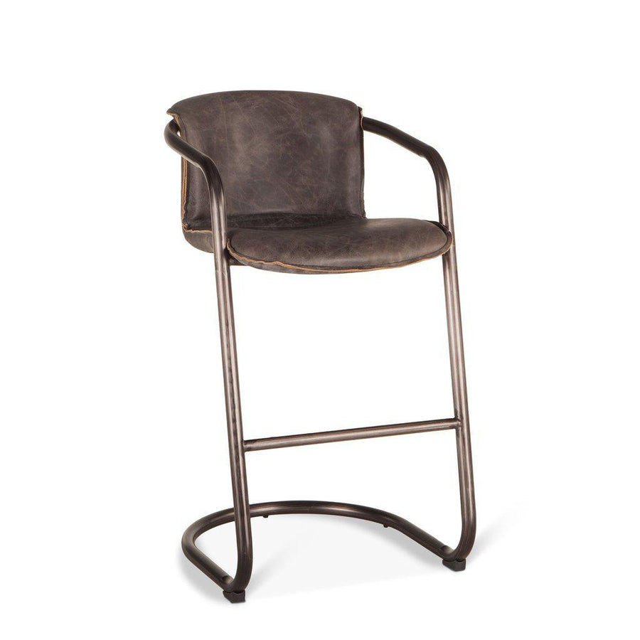 Modern Industrial Bar Chair - Bar Stool - Antique Ebony Distressed Leather-Set of 2 Chair HT&D