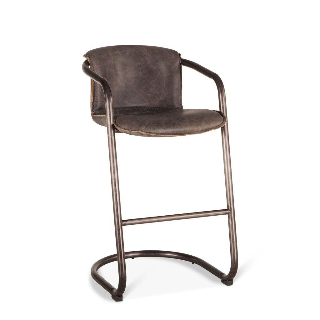 Modern Industrial Chair - Bar Stool - Ebony Distressed Leather - Set of 2 - Rustic Deco Incorporated