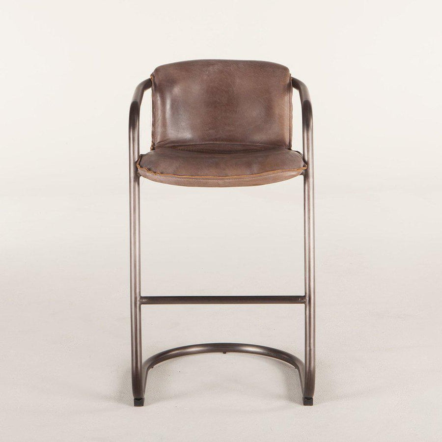 Modern Industrial Bar Chair - Bar Stool - Jet Brown Distressed Leather-Set of 2 Chair HT&D