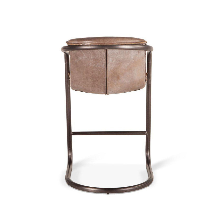 Modern Industrial Counter Height Chair - Counter Stool --Set of 2- Jet Brown Distressed Leather Stool HT&D