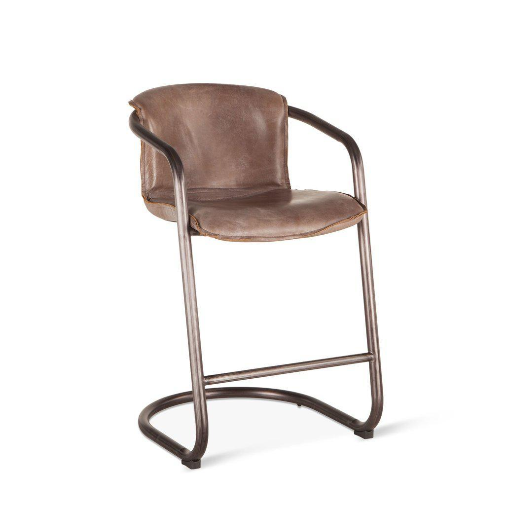Sensational Modern Industrial Counter Chair Bar Stool Brown Distressed Leather Set Of 2 Inzonedesignstudio Interior Chair Design Inzonedesignstudiocom