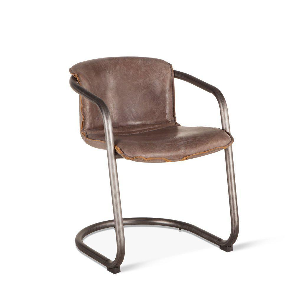 Cool Modern Industrial Dining Chair Distressed Brown Leather Set Of 2 Ncnpc Chair Design For Home Ncnpcorg