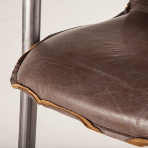 "Modern Industrial Dining Chair 22"" Distressed Brown Leather - Contemporary-Set of 2 Chair HT&D"