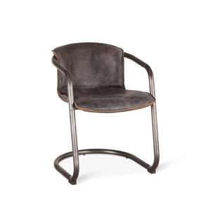 Modern Industrial Dining Chair- Antique Ebony Distressed Leather-Set of 2 - Rustic Deco Incorporated