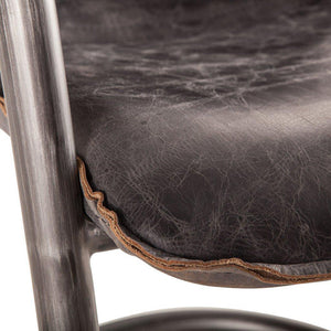 Modern Industrial Dining Chair- Antique Ebony Distressed Leather-Set of 2 Chair HT&D