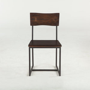 Modern Industrial Dining Chair Dark Walnut - Cast Iron and Acacia-Set of 2 - Rustic Deco Incorporated