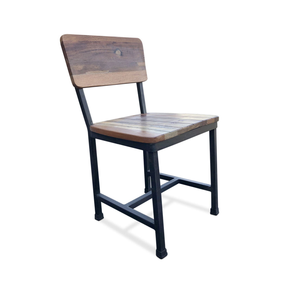 Modern Industrial Dining Chair -Metal Reclaimed Hardwood - Pair of 2 Chair Rustic Deco